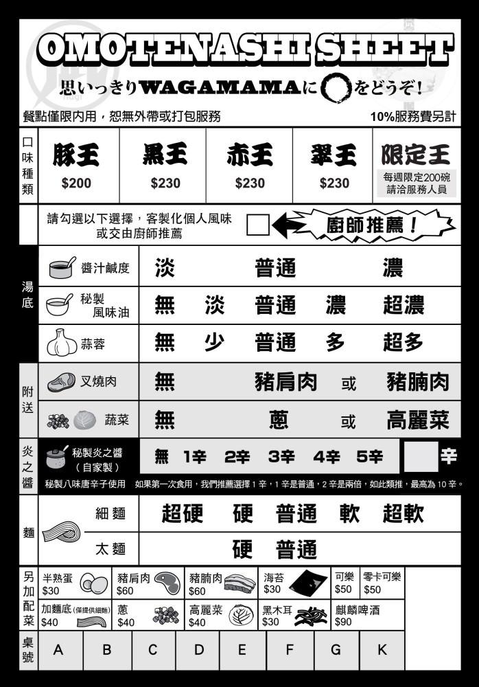 豚骨拉麵ラーメン凪Nagi台灣@天母店, 點菜單/MENU
