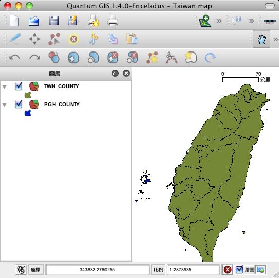 成果:台灣+澎湖且位置正確