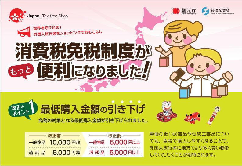[日本購物必讀] 2016年日本購物退稅新制 2016年5月起購物滿5000円可退稅 超商、藥妝店都加入退稅行列 (JAPAN. TAX-FREE SHOP)
