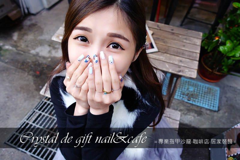 【台北中山】Crystal de gift nail & cafe – 春天灰藍花朵 凝膠 中山捷運站美甲