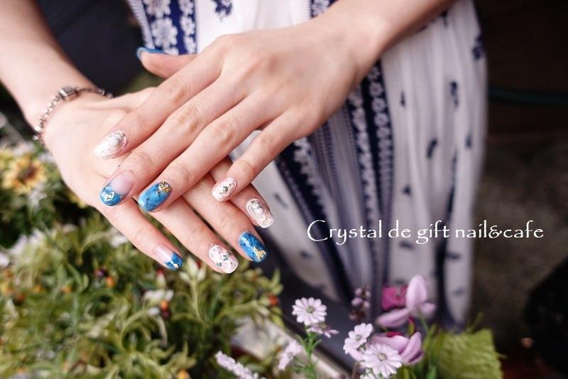 【台北中山】Crystal de gift nail & cafe – 天然石彩繪 初秋指甲 凝膠 中山捷運站美甲