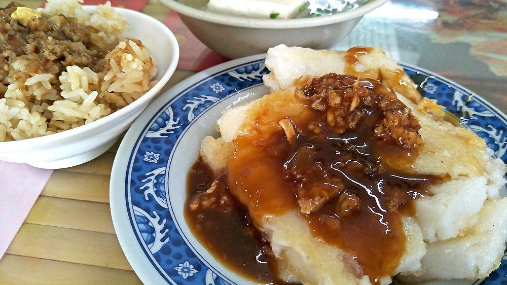 社頭美食_溪州50年阿模米糕店-社頭店│香脆的油蔥搭配綿密的粿、濕潤的米糕,簡單就能飽餐一頓。