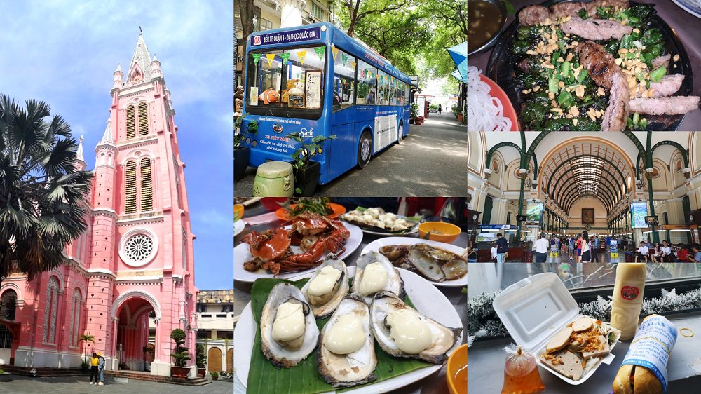 粉紅教堂、書街、郵政局、紅教堂、Bánh Mì Bùi Thị Xuân、Quán Ốc Như、胡志明路邊小吃