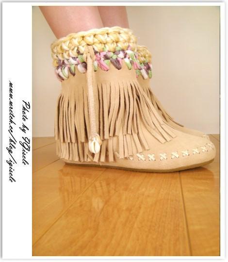 [穿搭] 毛線流蘇貝殼靴遇上增高鞋墊記