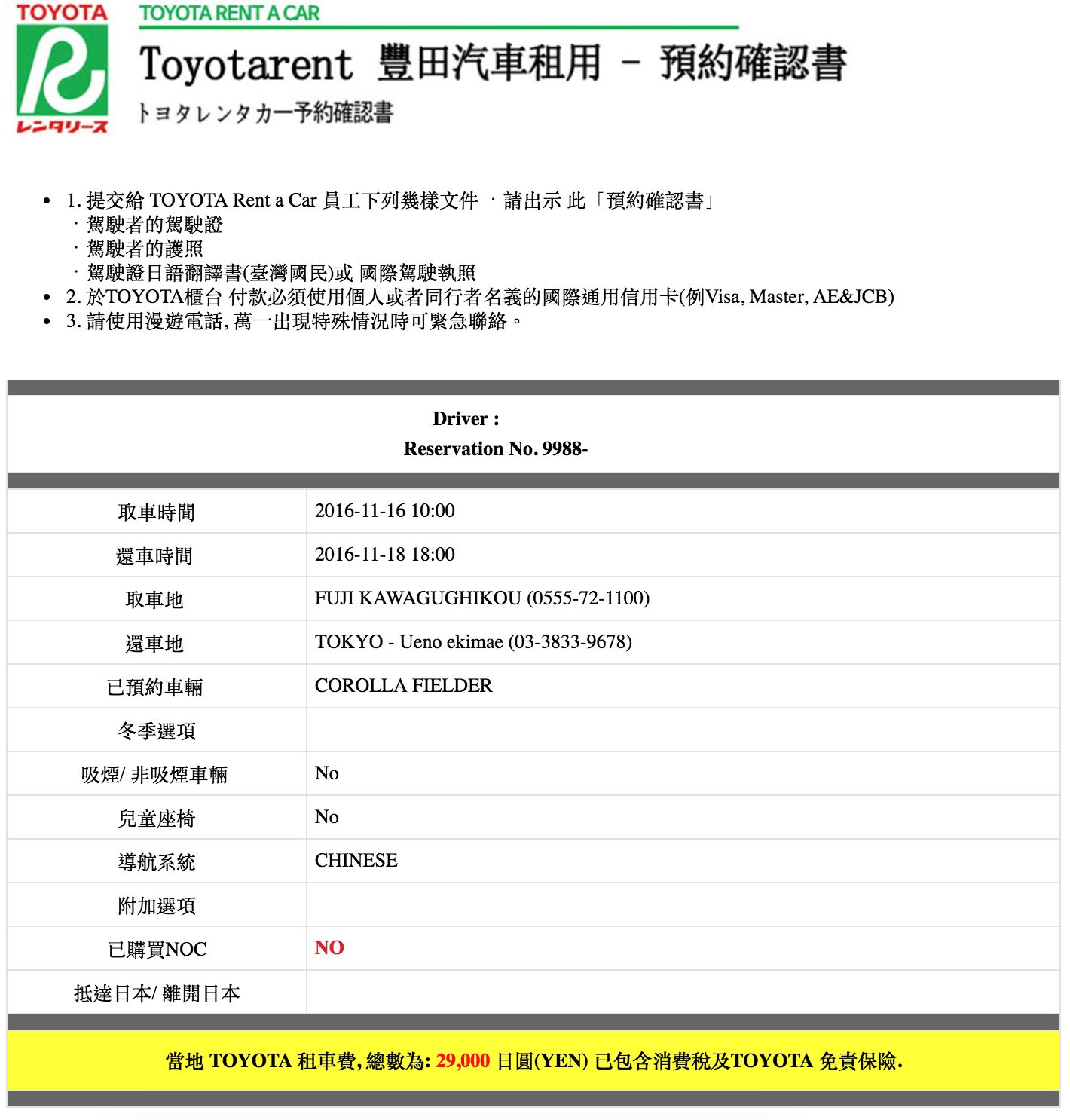 toyota rental car 日本租車