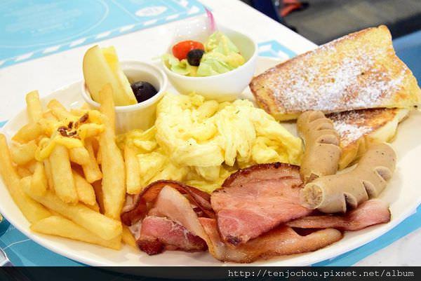 【台北食記】時尚歐式餐廳 大份量早午餐brunch綜合肉吃超飽 TJB CAFÉ 東區國父紀念館美食